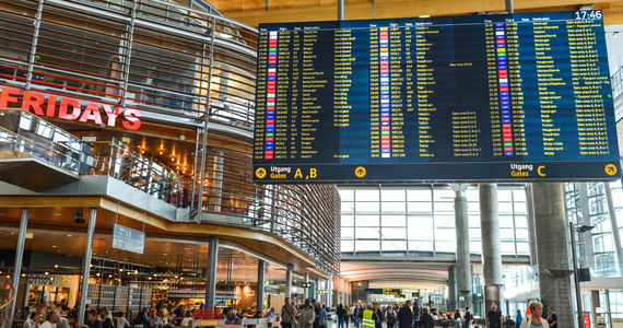 Oslo airport is paralyzed.  Up to eight hours of waiting