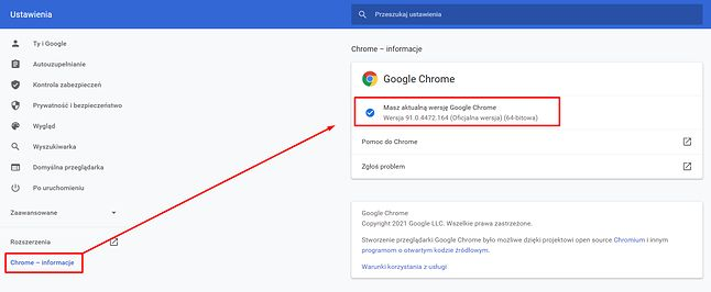 Check the version of Google Chrome in Settings