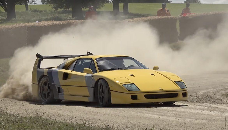 Rush for 8 million PLN does not use asphalt roads.  Ferrari F40 gets pebbled (video)