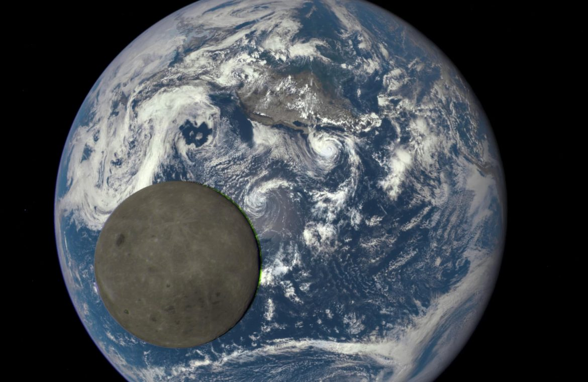 Solar eclipse and moon shadow on earth.  DSOVR . probe