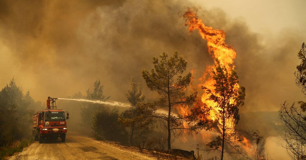 Turkey lies next to forest fires in the Mediterranean countries