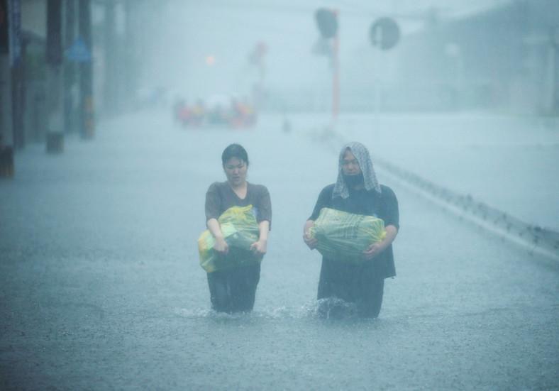 Heavy flooding in Kurumi, Fukuoka Prefecture, western Japan