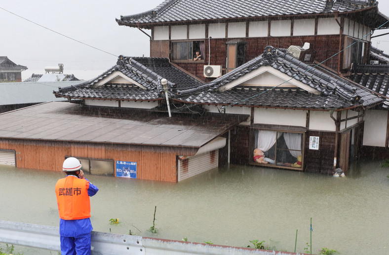 Floods caused by heavy rain in Takeo City, Saga Prefecture, western Japan.  August 14, 2021