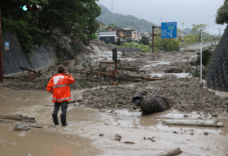 A landslide caused by heavy rain covers the road in Otsu, Shiga Prefecture.  August 14, 2021