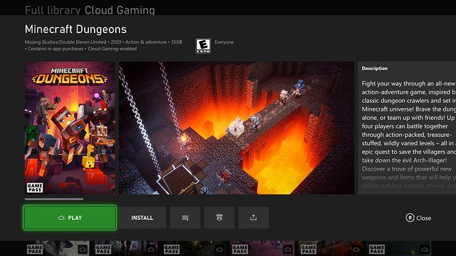 Minecraft Dungeons w Xbox Game Pass