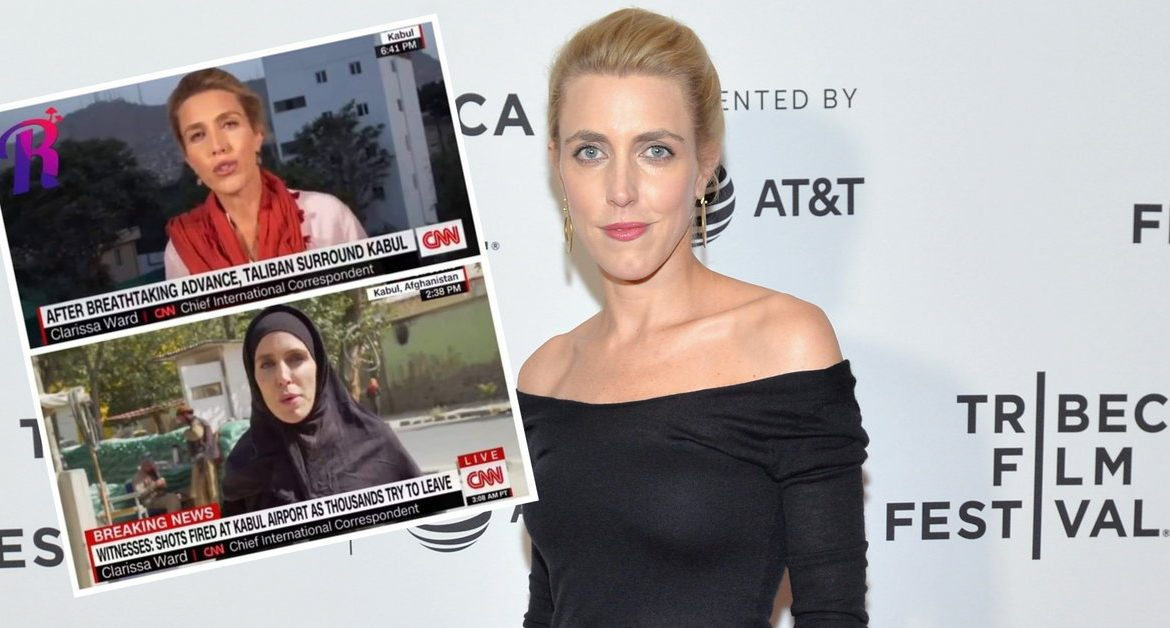 A CNN reporter wears a headscarf.  The journalist's photo was circulated by the network