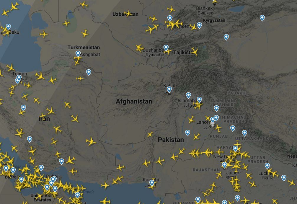 The US Department of Defense: All civilian and military flights to and from Kabul have been suspended