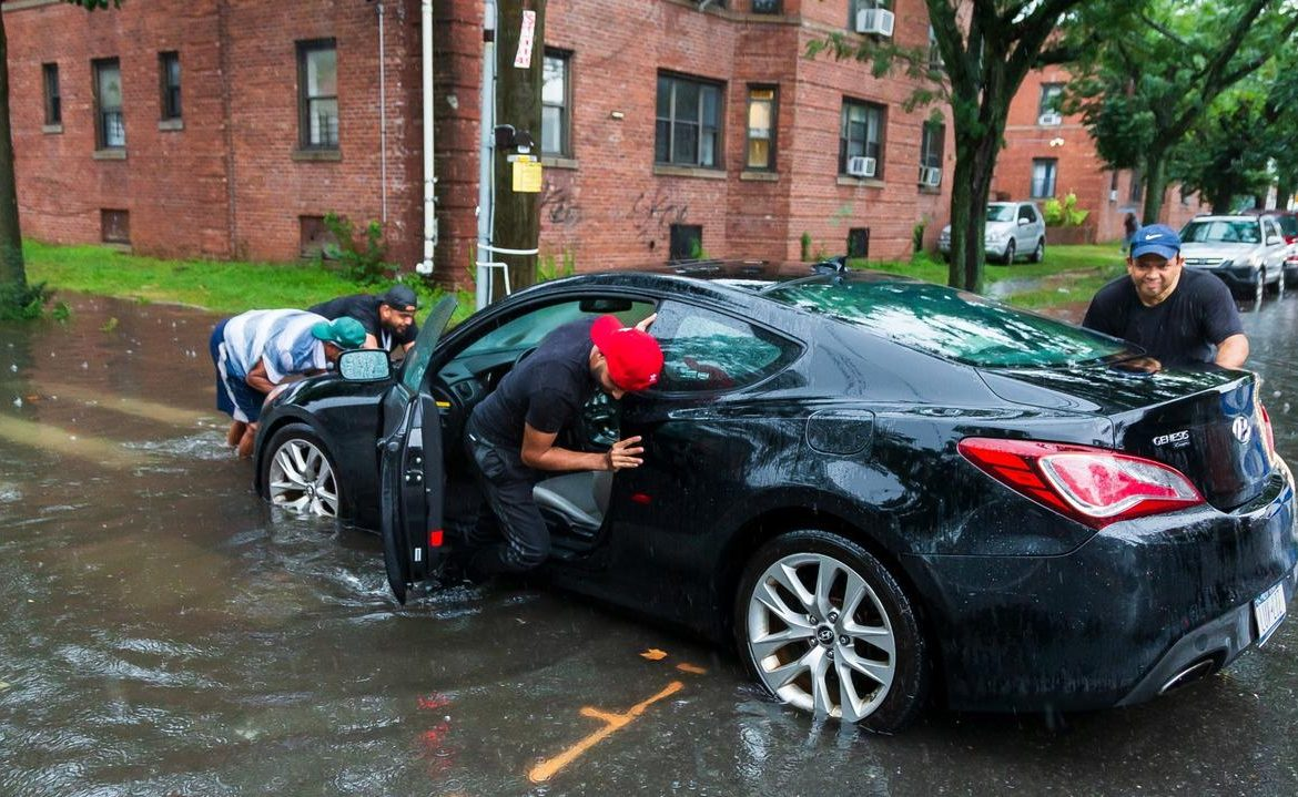 Tropical Storm Henry hit the United States.  Flooded streets, canceled flights, people without electricity