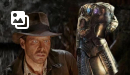 Indiana Jones with the Infinity Gauntlet!  Movie connections are sweeping the internet