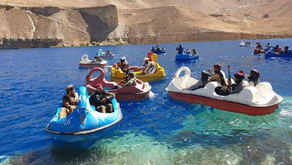 Afghanistan.  Taliban with a rocket launcher on a swan-shaped water bike.  They visited the park [WIDEO] |  world News