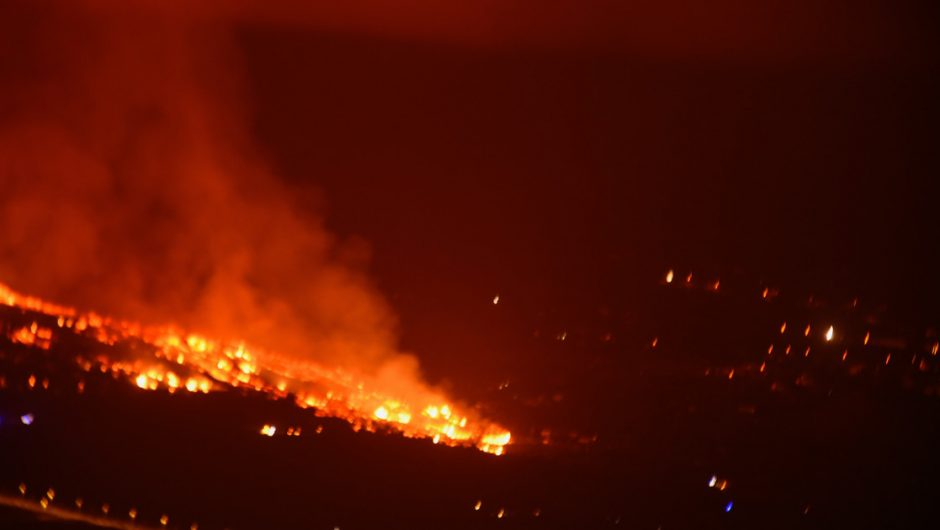 Canary Islands.  Volcanic eruption on the island of La Palma.  necessary evacuation