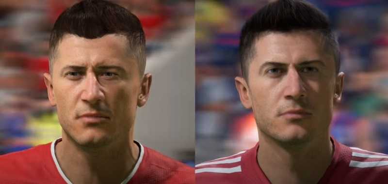 FIFA 22 vs.  FIFA 21. The comparison shows the big differences in the players faces and animations