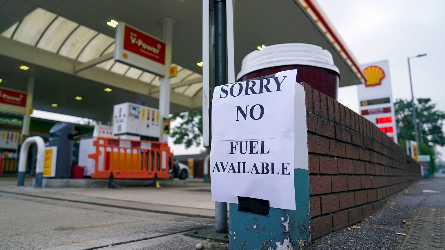 Great Britain.  There is a shortage of some products in stores, and queues at gas stations due to a shortage of truck drivers.