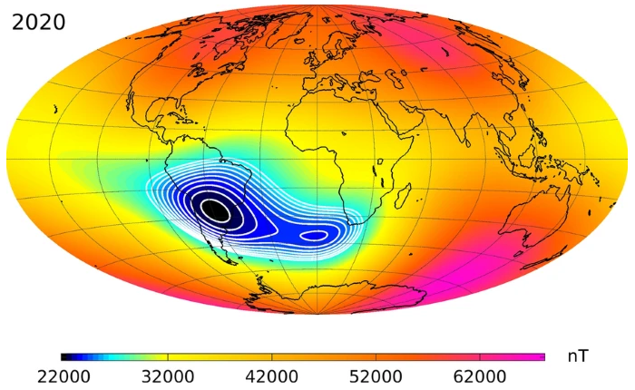 What anomaly damages the spacecraft over the South Atlantic?