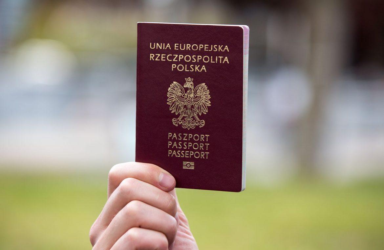 Arranging passport 2021. Polish document on top