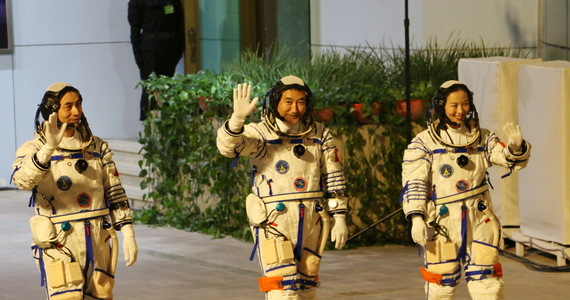 The astronauts arrived at the Chinese space station.  They will do experiments