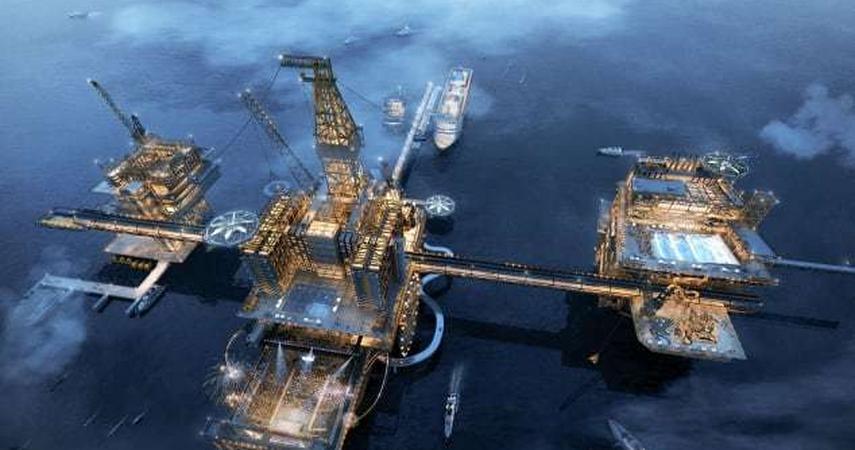 A huge amusement park will be built on the oil platform