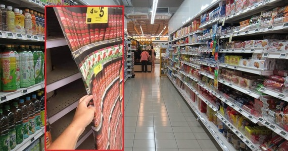 The supply chain problem in the United States and the United Kingdom.  Empty shelves covered with photo wallpapers