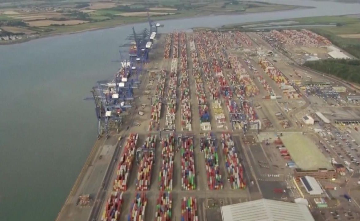 Great Britain.  The largest cargo port is packed.  Maersk reroutes ships to other ports