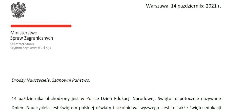 Greetings from Minister Szymon Szynkowski Vel Sęk to Polish teachers on the occasion of National Education Day - Poland in Ukraine
