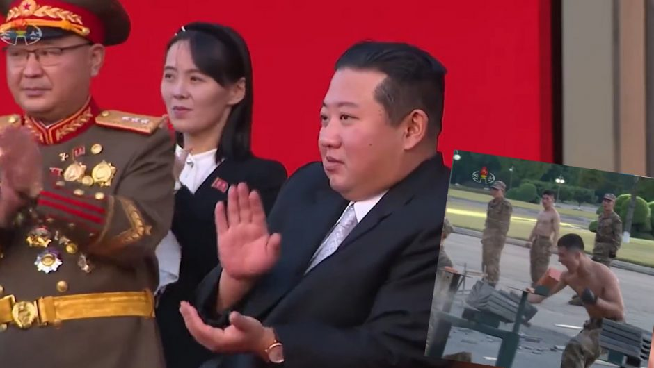 Kim Jong-un watched the soldiers' demonstration.  They smashed bricks with their heads [WIDEO]