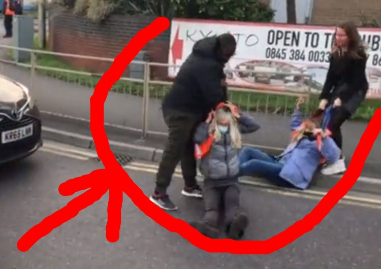 """""""What a fake!"""".  A Polish woman with a black friend eases the blockade of """"ecologists"""" in Great Britain [VIDEO]"""